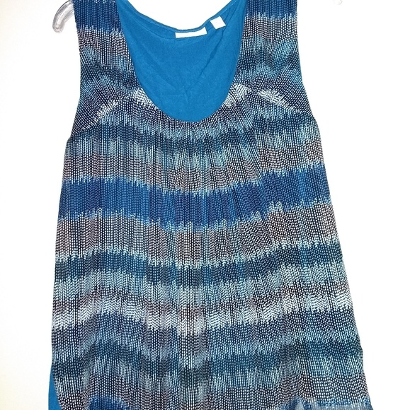 New York & Company Tops - Blue Patterned Tank/Blouse